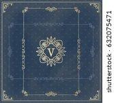 vector  vintage ornament design ... | Shutterstock .eps vector #632075471