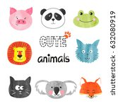 watercolor cute animals set.... | Shutterstock .eps vector #632080919