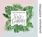 wedding invitation card.... | Shutterstock .eps vector #632095361