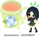 a cute girl and a tea cup of... | Shutterstock .eps vector #632098007
