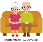 elderly couple husband and wife ... | Shutterstock .eps vector #632099381