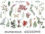 big set watercolor elements  ... | Shutterstock . vector #632102945
