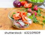 vegan dietary salad with herbs  ... | Shutterstock . vector #632109839