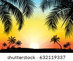 card with realistic palm trees... | Shutterstock .eps vector #632119337