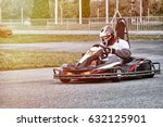 go kart racer on the track in... | Shutterstock . vector #632125901