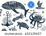 6 hand drawn summer designs... | Shutterstock .eps vector #632129657