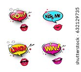 comic speech bubbles and female ... | Shutterstock .eps vector #632129735