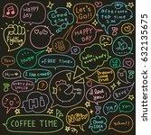 set of hand drawn speech and... | Shutterstock .eps vector #632135675