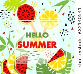 summer banner with watermelon... | Shutterstock .eps vector #632140541