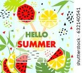 summer banner with watermelon... | Shutterstock .eps vector #632140541
