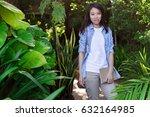young businesses women in green ... | Shutterstock . vector #632164985