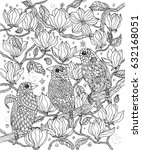birds and flowers coloring page.... | Shutterstock .eps vector #632168051
