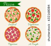 pizza set vector illustration.... | Shutterstock .eps vector #632168084
