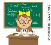 cute schoolgirl with glasses... | Shutterstock .eps vector #632177567