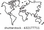 freehand world map sketch on... | Shutterstock .eps vector #632177711