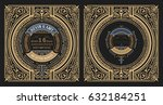 vintage label with old frames.... | Shutterstock .eps vector #632184251