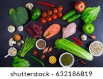selection of healthy food on... | Shutterstock . vector #632186819