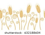 vector ears of wheat horizontal ... | Shutterstock .eps vector #632188604