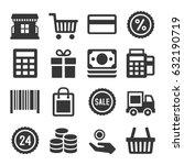 shopping icon set | Shutterstock .eps vector #632190719