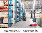 forklift  in warehouse storage... | Shutterstock . vector #632193545