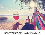 drinking wine  woman with red... | Shutterstock . vector #632196635