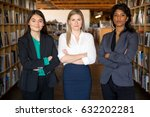 Small photo of Young bright diverse legal attorney group stand powerful with confident success expression