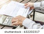 man using calculator and... | Shutterstock . vector #632202317