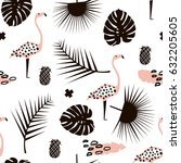 palm branch trendy seamless... | Shutterstock .eps vector #632205605