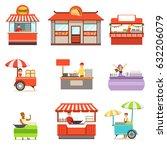 street food kiosk set on wheels ... | Shutterstock .eps vector #632206079