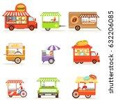 street food kiosk collection on ... | Shutterstock .eps vector #632206085