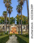 Small photo of Garden and Gallery of Grutescos in Alcazar of Seville , Spain