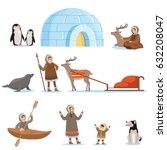 eskimo characters in... | Shutterstock .eps vector #632208047