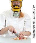 female cook in white uniform...