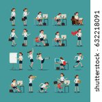 large vector set of business... | Shutterstock .eps vector #632218091