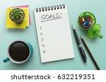 top view notebook with goals...   Shutterstock . vector #632219351