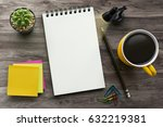 notebook on office table with a ...   Shutterstock . vector #632219381