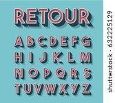 retro 3d font set  vector... | Shutterstock .eps vector #632225129