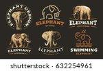 Stock vector set elephant logo vector illustration emblem design on dark background 632254961