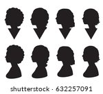 vector set silhouette of woman... | Shutterstock .eps vector #632257091