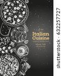 italian cuisine top view poster.... | Shutterstock .eps vector #632257727