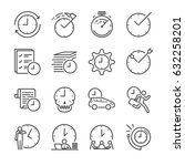 time management line icon set.... | Shutterstock .eps vector #632258201