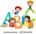 four children and english... | Shutterstock .eps vector #632261681