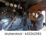 the train driver near the steam ... | Shutterstock . vector #632262581