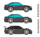flat racing car vector set. eps ... | Shutterstock .eps vector #632265461