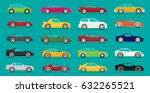 flat car vector set. eps 10. | Shutterstock .eps vector #632265521