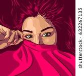 yong redhead woman hide her... | Shutterstock .eps vector #632267135