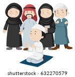 muslim people in tradition... | Shutterstock .eps vector #632270579