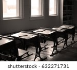Desks And Books In Old School...