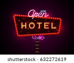 hotel sign buib and neon | Shutterstock .eps vector #632272619