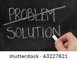 Crossing out the word problem and writing solution on blackboard - stock photo